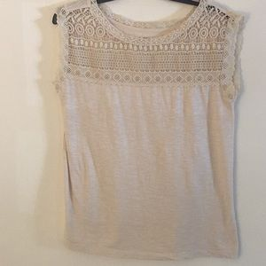 Loft Beige Cotton Fancy Top - Size Medium